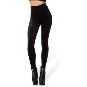 Blackmilk High Waisted Black Velvet Leggings